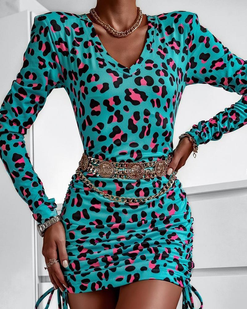 Cheetah Print Drawstring Ruched Bodycon Dress