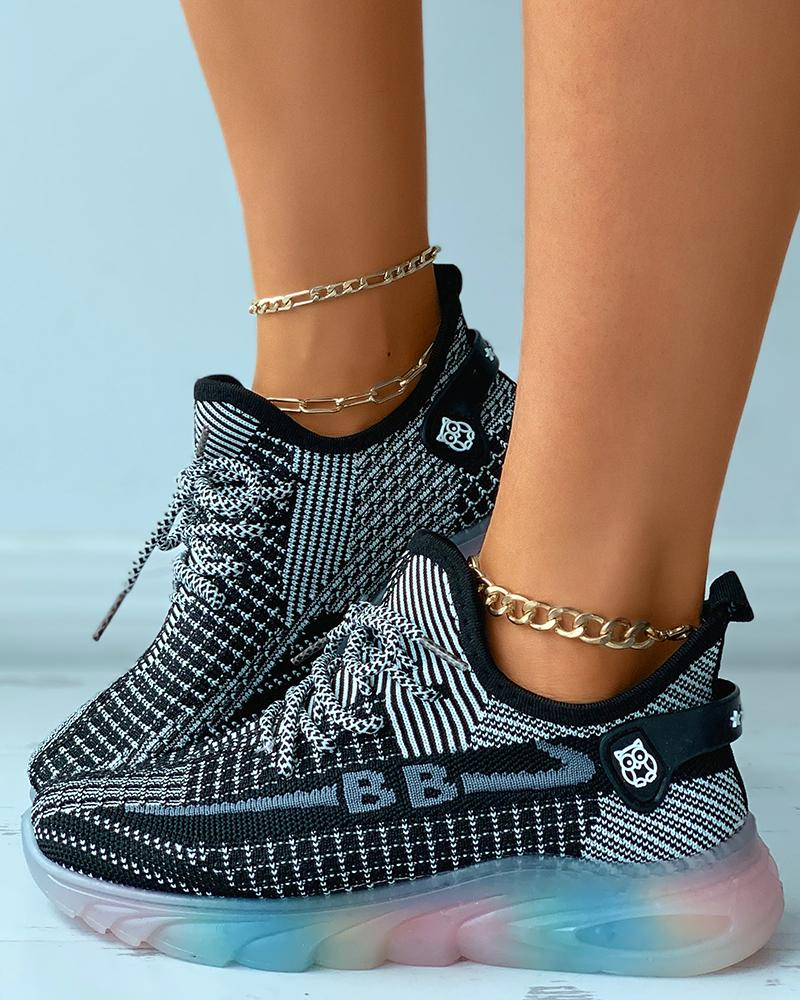 Lace-up Colorblock Breathable Sporty Knit Sneakers