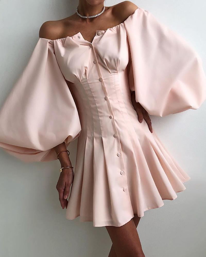 Lantern Sleeve Ruched Corset Dress