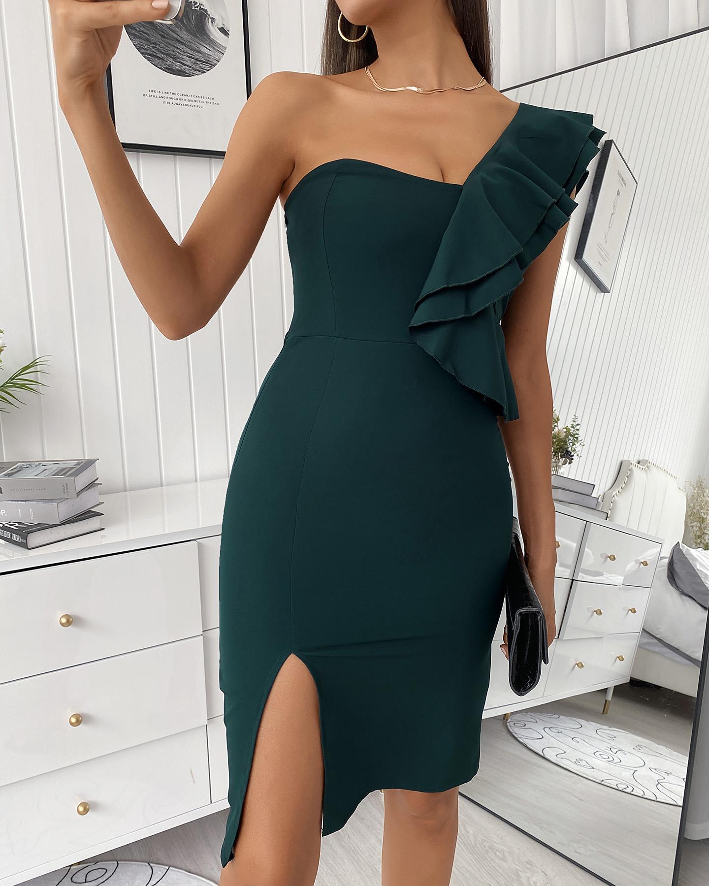 One Shoulder Ruffles Slit Midi Dress