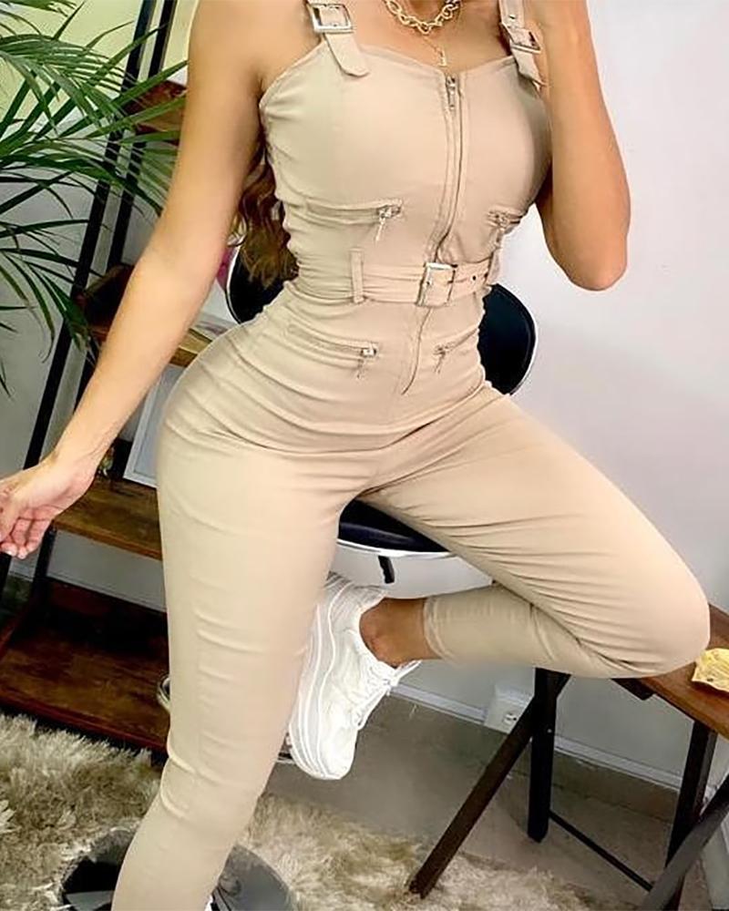 Buckled Zipper Pocket Design Suspender Jumpsuit Sleeveless Solid Color Casual Jumpsuit