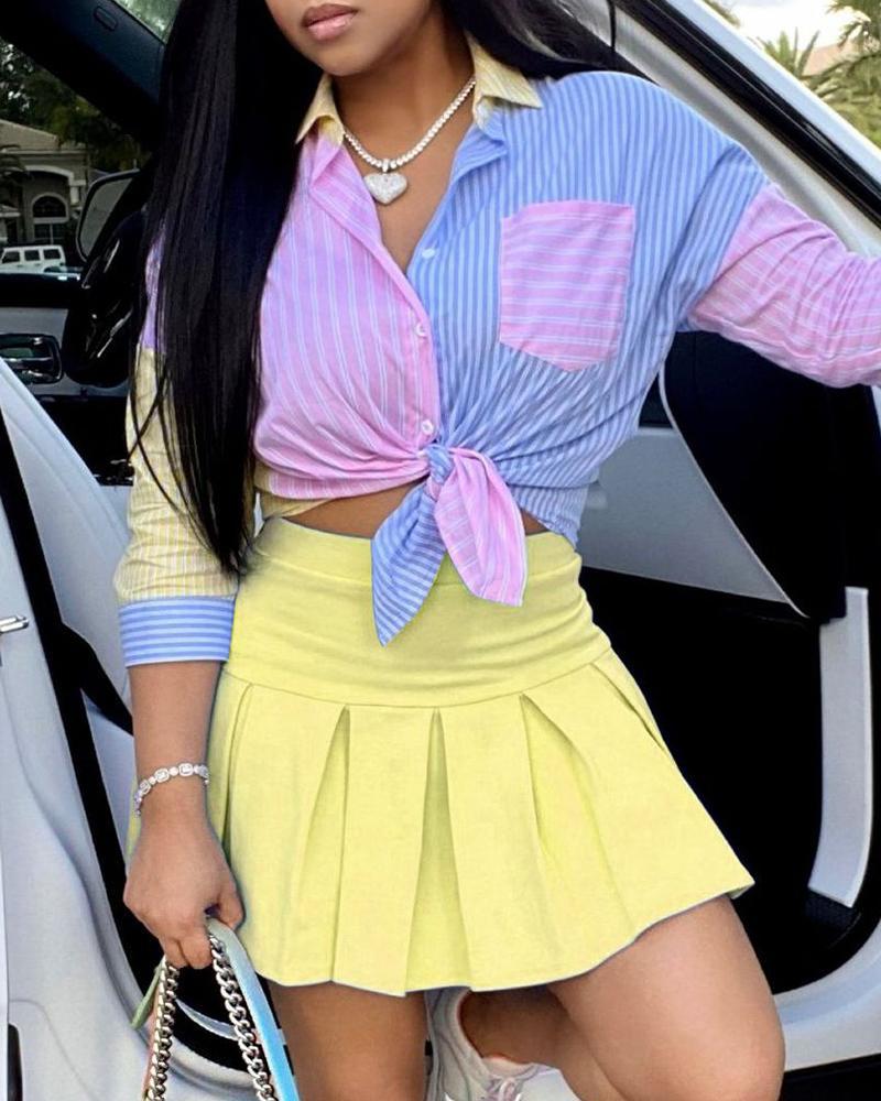 Striped Colorblock Shirt & Pleated Skirt Set, Yellow