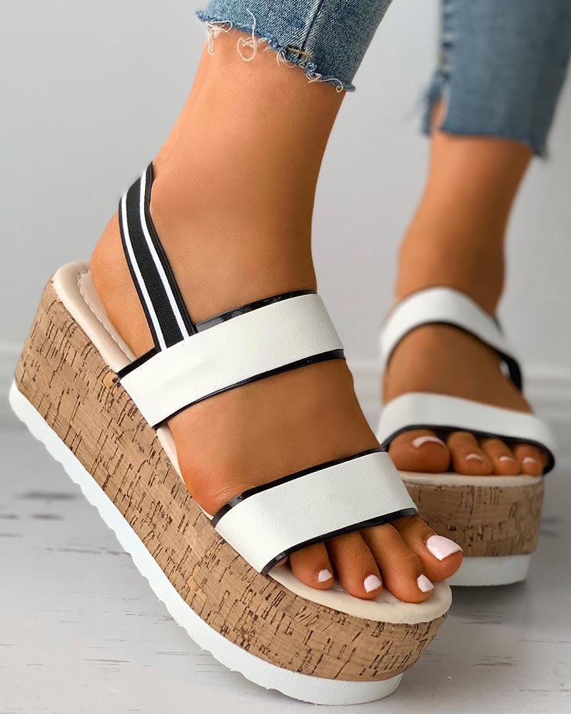 Colorblock Slingback Cork Wedge Sandals