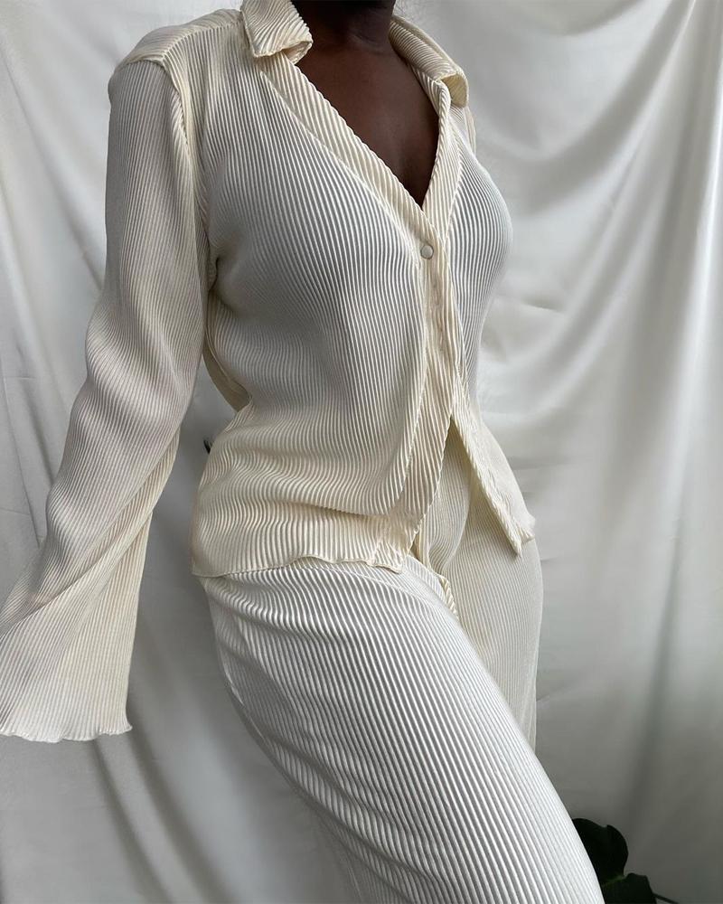 Corduroy Long Sleeve Buttoned Top & Pants Set