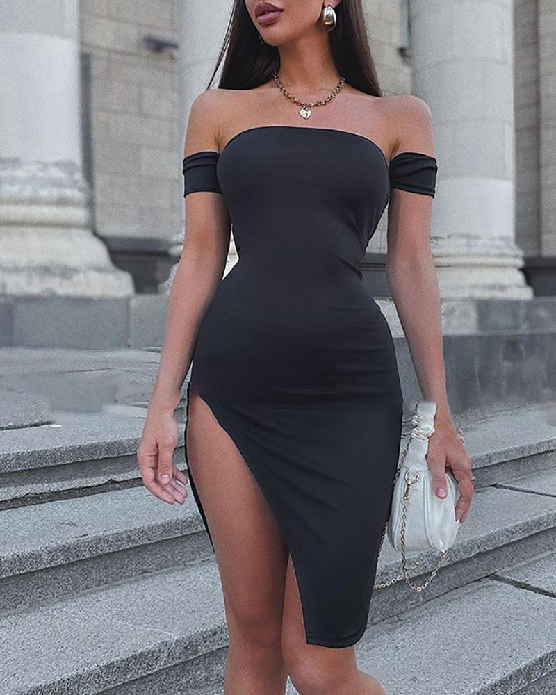 Off Shoulder Slit Skinny Midi Dress