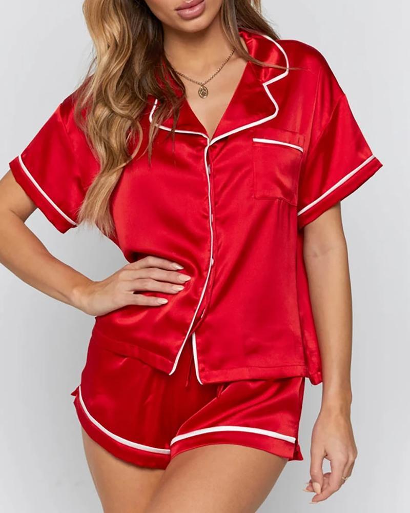 Colorblock Satin Short Sleeve Pajamas Set