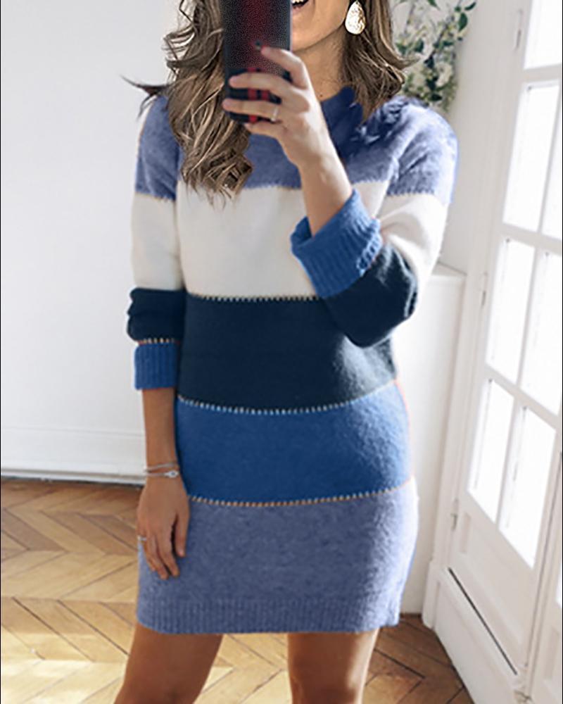 Robe pull en tricot à manches longues et imprimé rayé