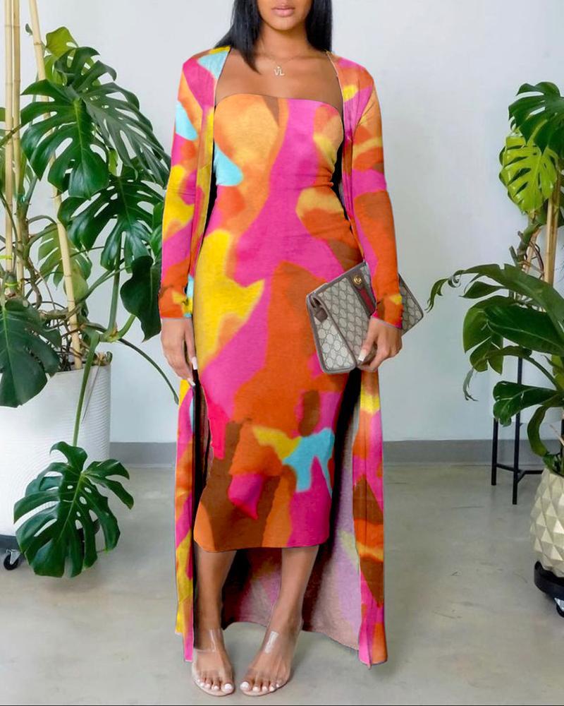 Colorblock Bandeau Skinny Dress With Long Sleeve Coat