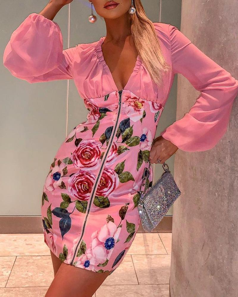 Floral Print Lantern Sleeve Zip Dress