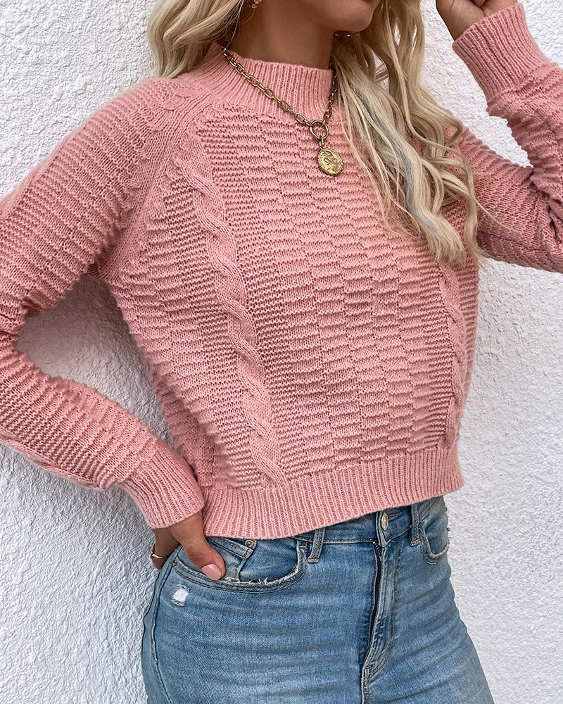 Long Sleeve O Neck Braided Knit Sweater