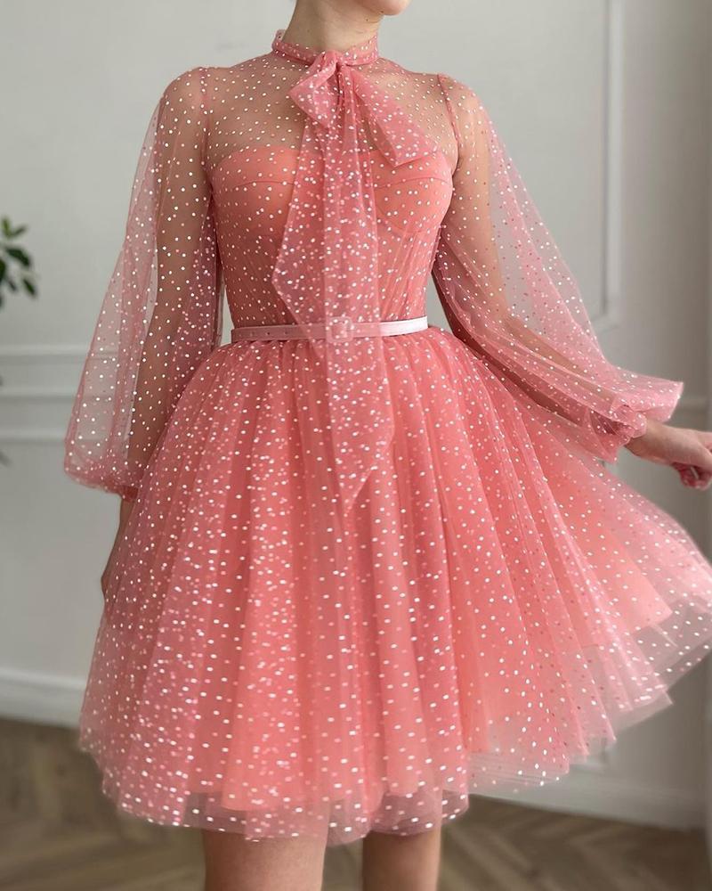 Polkadot Print Tie Neck Lantern Sleeve Mesh Prom Dress