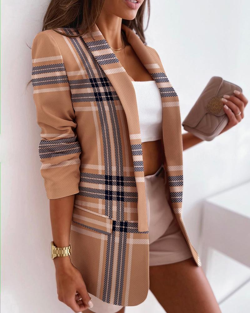 Plaid Print Long Sleeve Blazer Coat