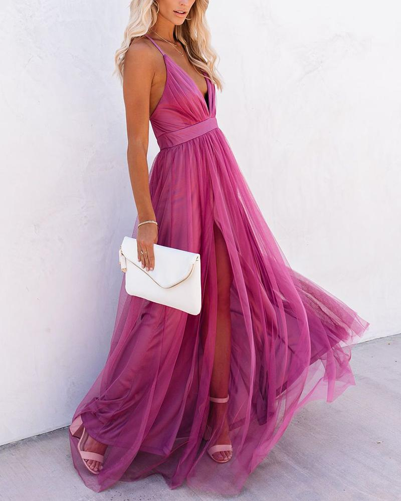 Solid Sleeveless Loose Mesh Long Party Dress