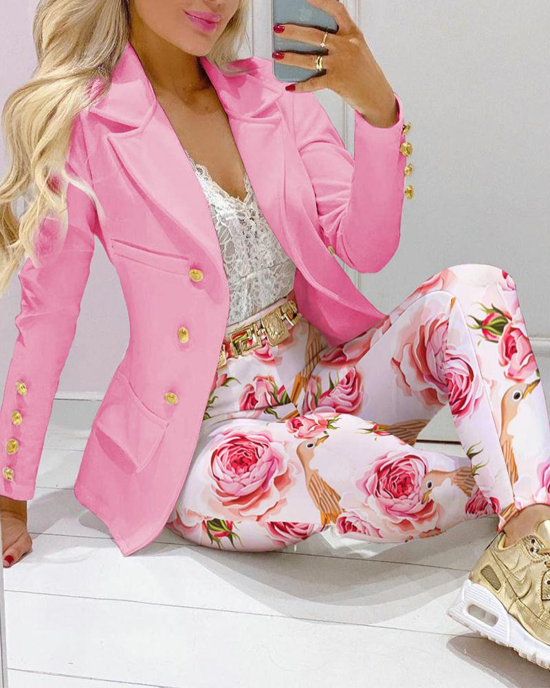 Two Piece Sets Lapel Collar Double Breasted Pocket Blazer & Floral Print Tailored Pants Set Elegant Work Suit Set, ivrose, pink  - buy with discount