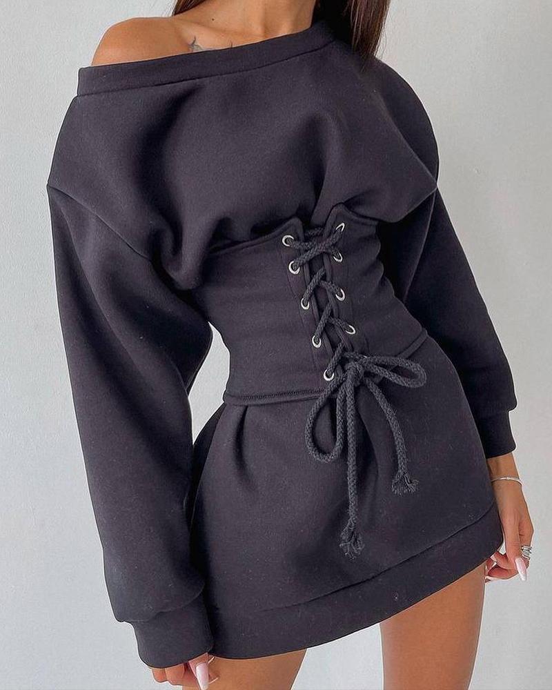 Long Sleeve Eyelet Lace-up Corset Casual Dress