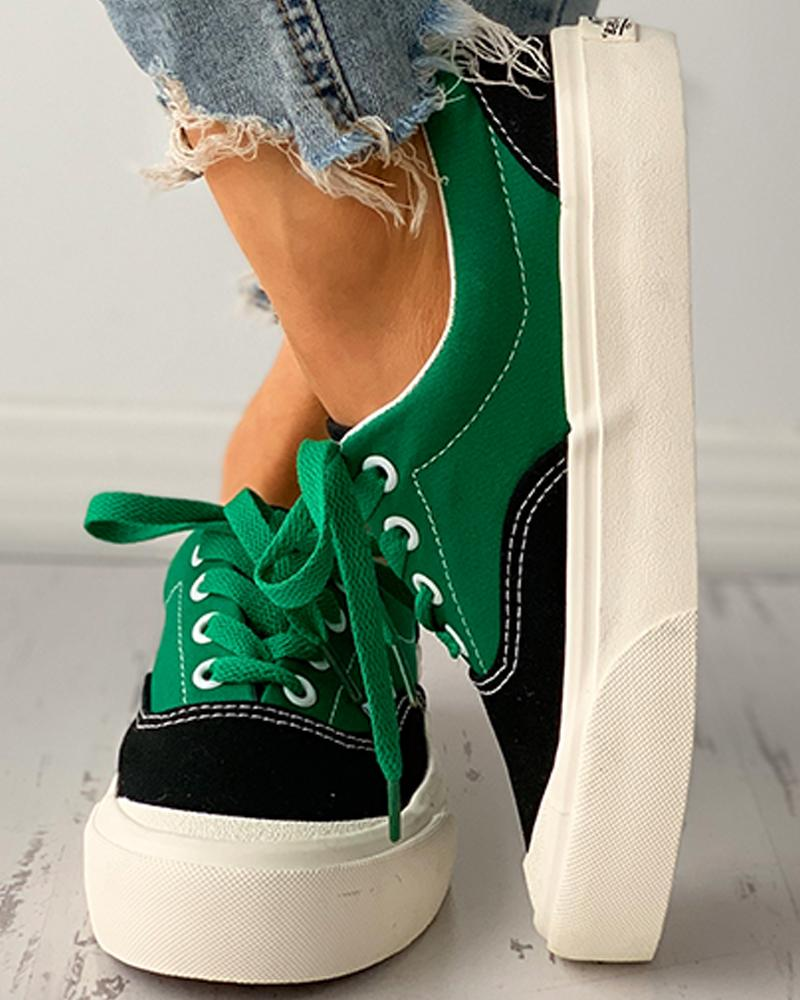 Eyelet Lace-up Colorblock Casual Canvas Shoes