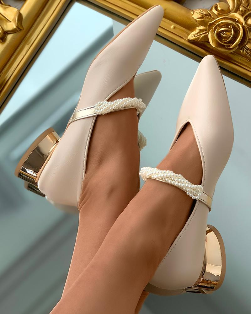 Pointed Toe Beaded Strap Chunky Mary Jane Shoes