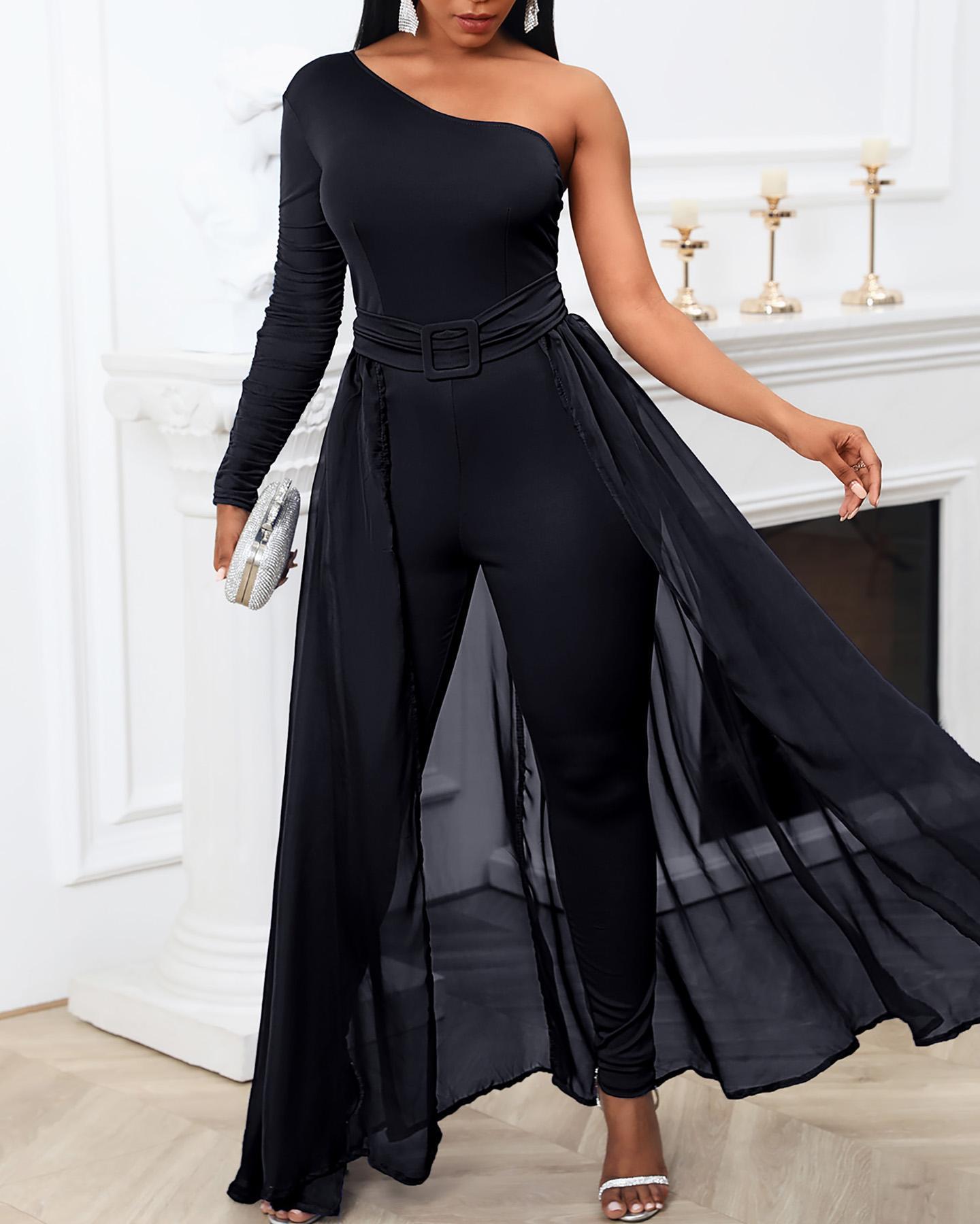 Elegant Casual One Shoulder Plain Sheer Mesh Jumpsuit Long Sleeve Chic Mesh Solid Patchwork