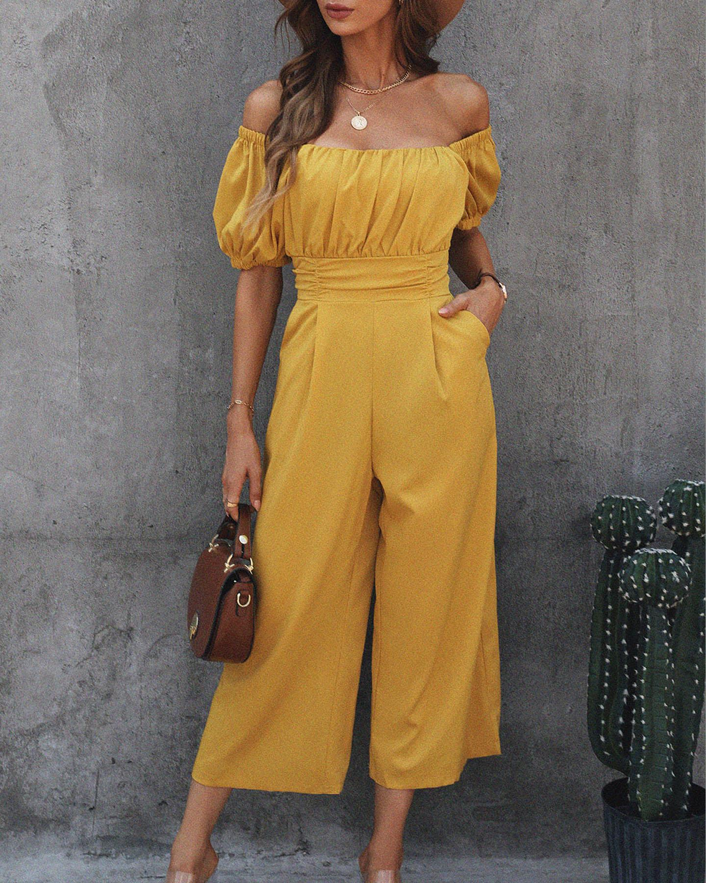 Puff Sleeve Ruched Pocked Design Jumpsuit