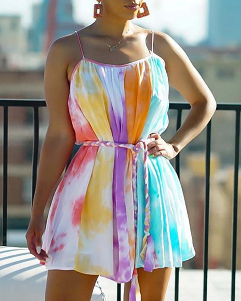 Tie Dye Print Colorblock Casual Dress