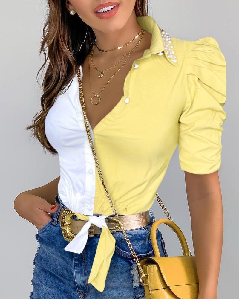 Color Block Puff Sleeve Shirt