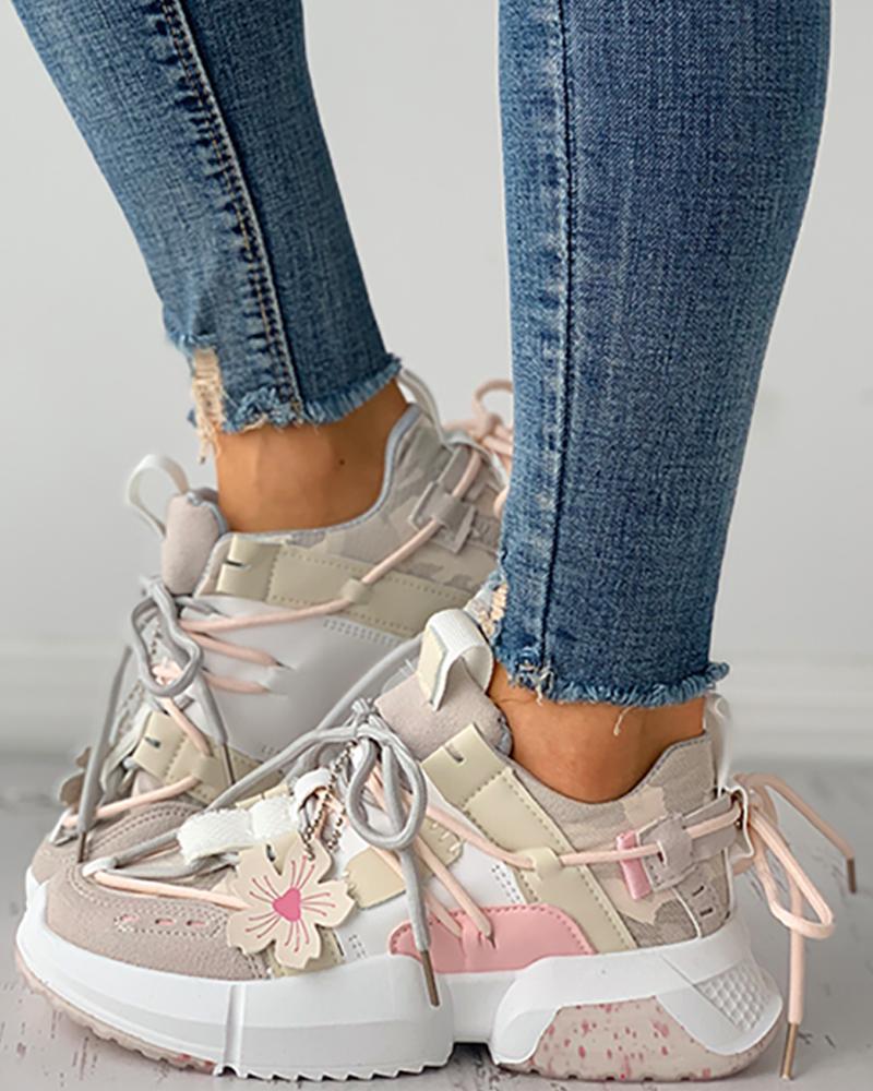 Floral Pattern Decor Colorblock Lace-up Sneaker