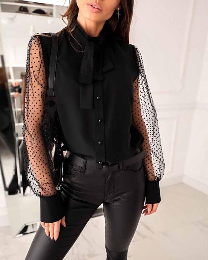 Tied Detail Dot Mesh Long Sleeve Button Design Top