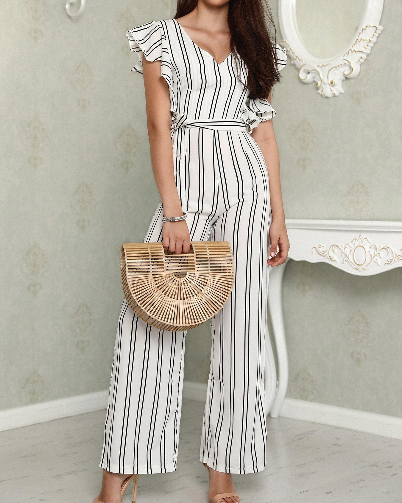 ChicMe coupon: Ruffled Deep V Tied Waist Stripes Jumpsuit