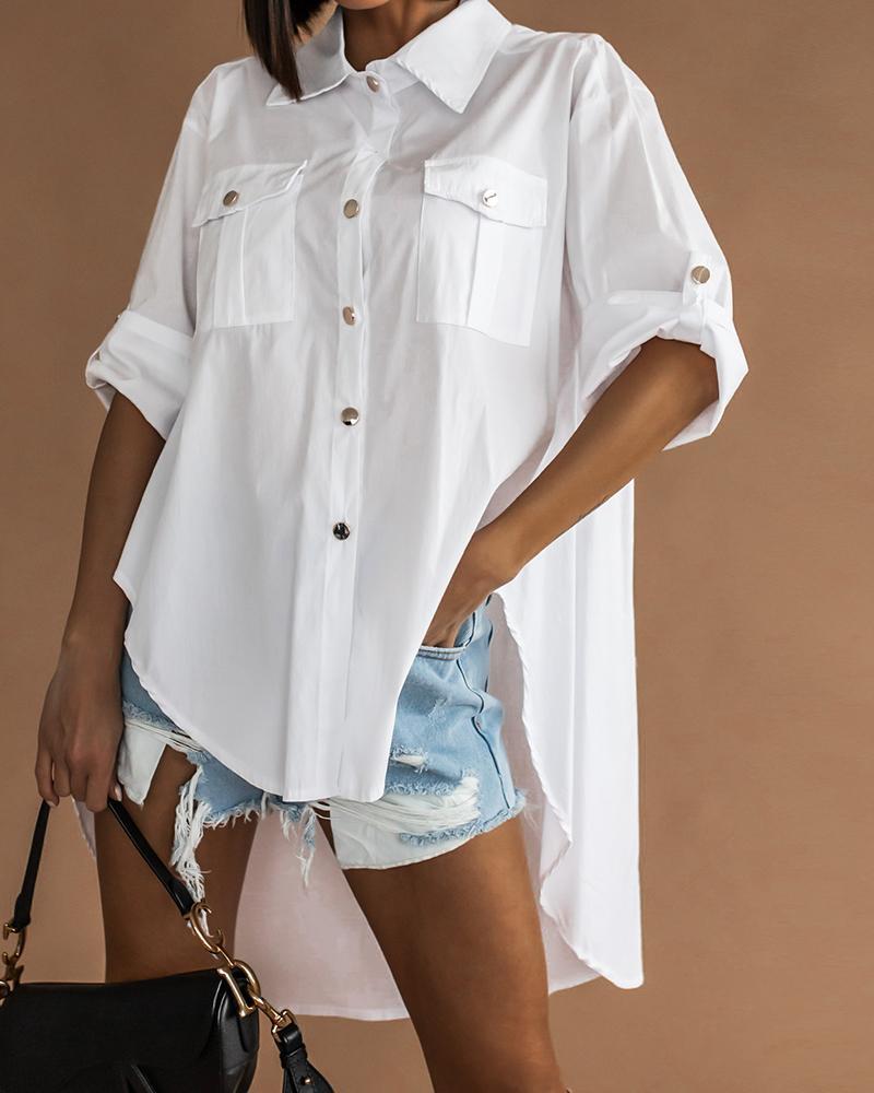 Plain Pocket Design Casual Shirt
