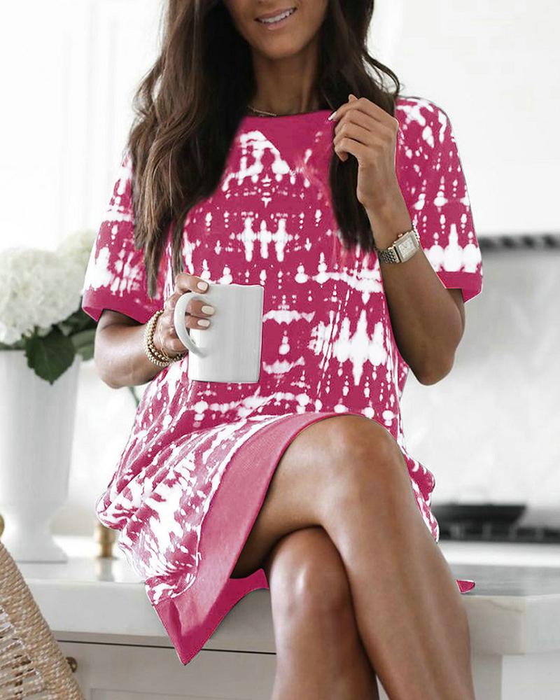 Colorblock Short Sleeve Sweatshirt Dress, chicme, pink  - buy with discount