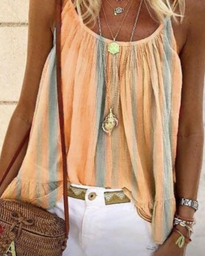 ChicMe coupon: Spaghetti Strap Colorblock Ruched Top