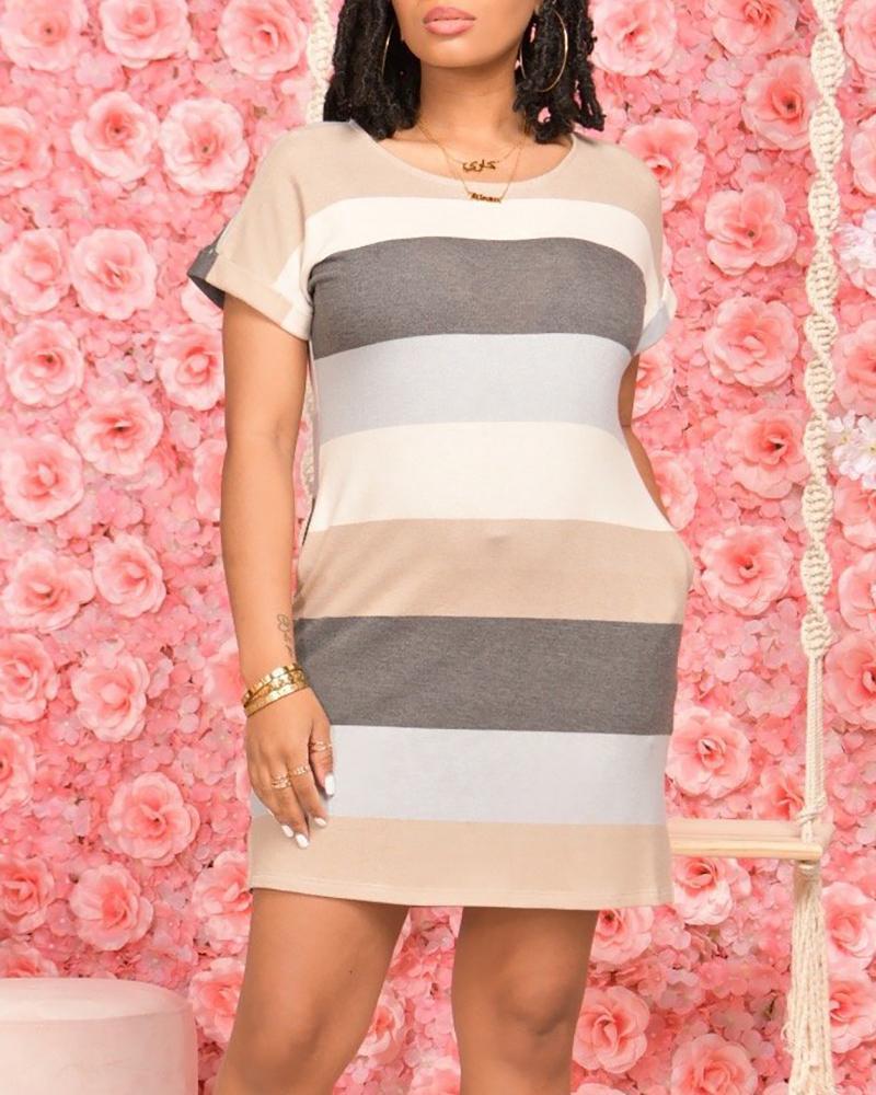 Striped Colorblock Pocket Design Short Sleeve Dress