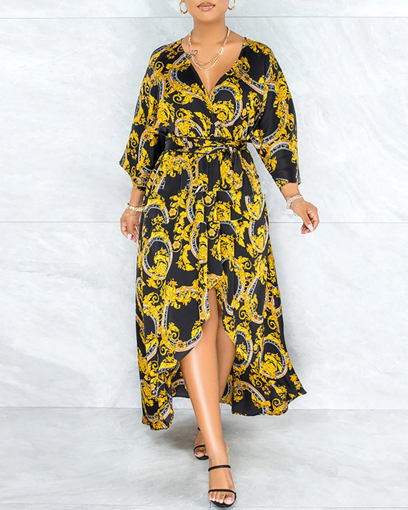 Scarf Print Tied Detail Dip Hem Dress