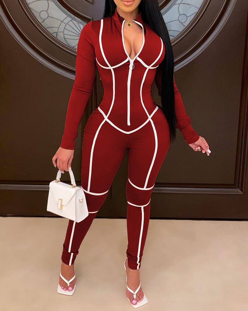 Colorblock Zipper Design Long Sleeve Jumpsuit