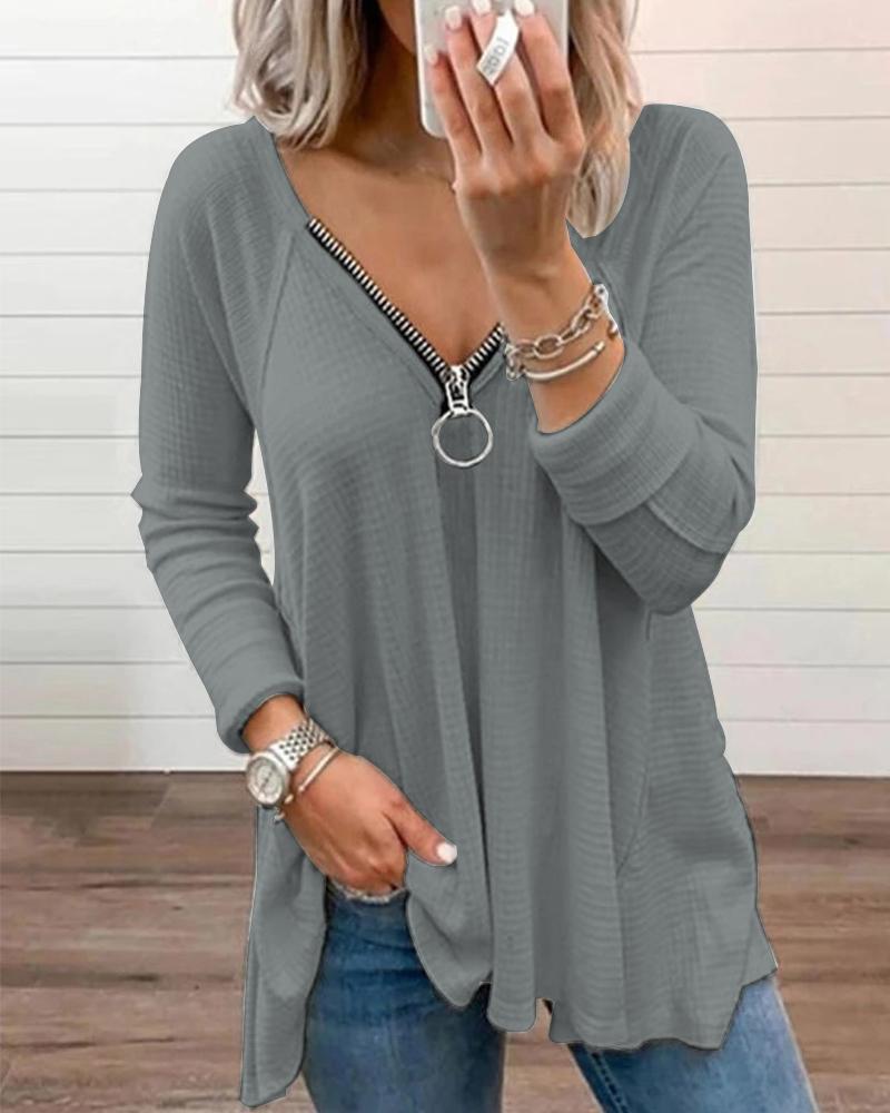 Zip Front Long Sleeve Casual Top