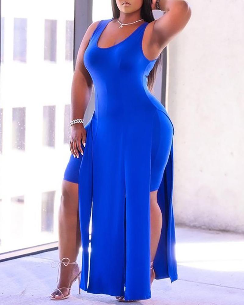 U Neck Plain Sleeveless Maxi Dress & Shorts Set thumbnail