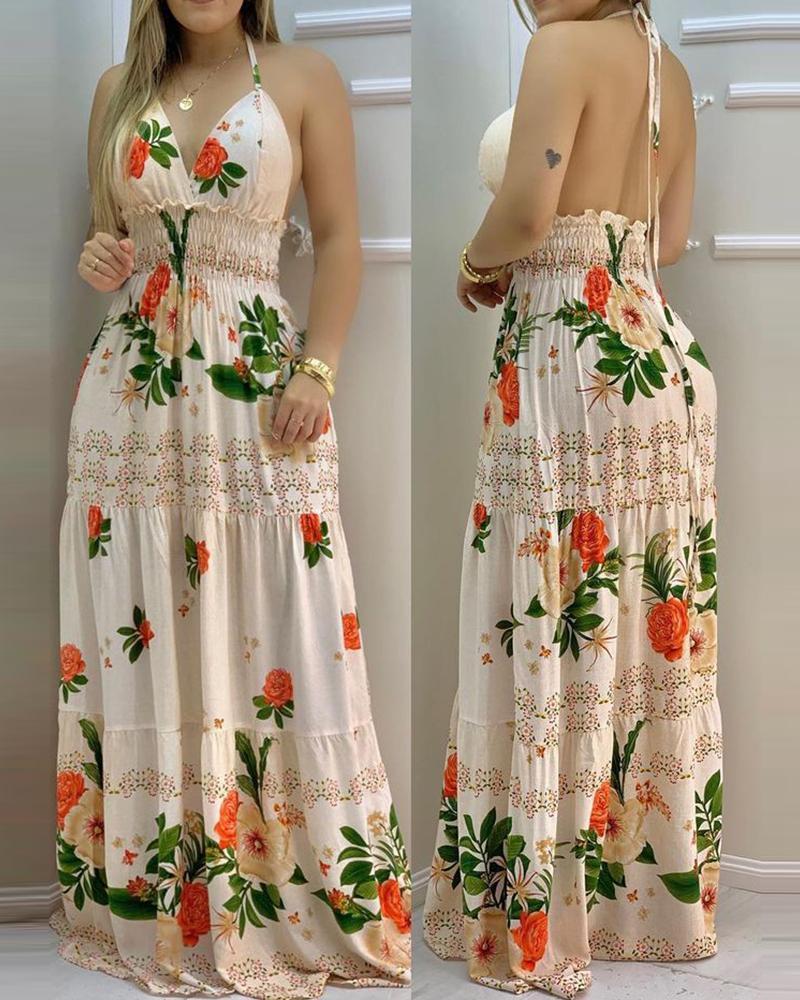 Halter Backless Floral Print Shirring Maxi Dress