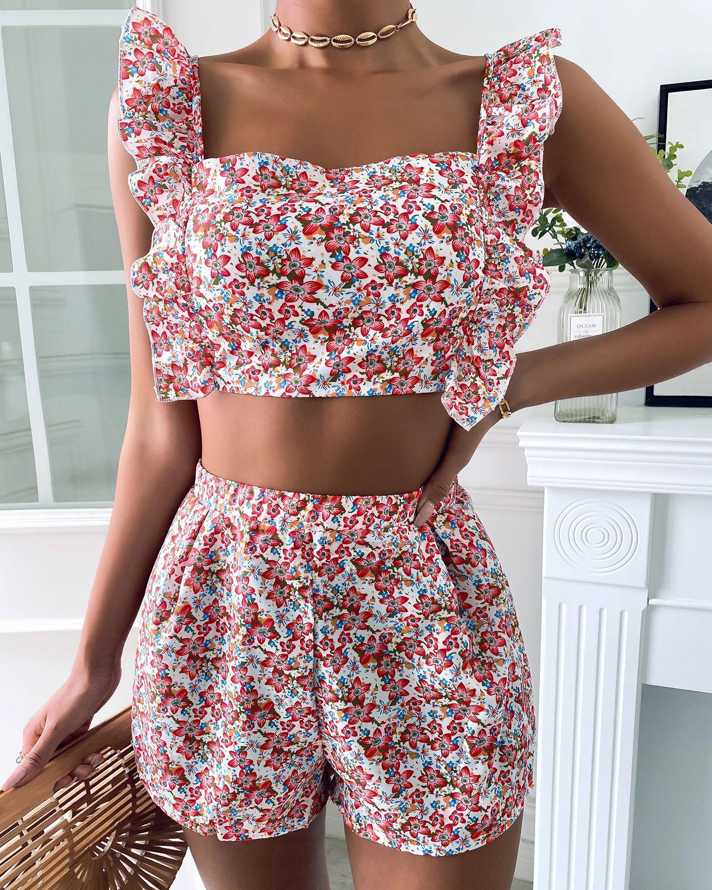 Ruffles Trim Floral Print Backless Crop Top & Shorts Set