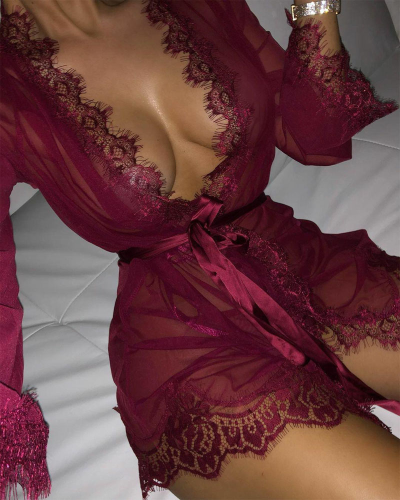Contrast Lace Sheer Mesh Belted Night Robe With Thong, Wine red