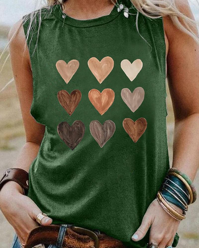 Heart Print Sleeveless O-neck Tank Top