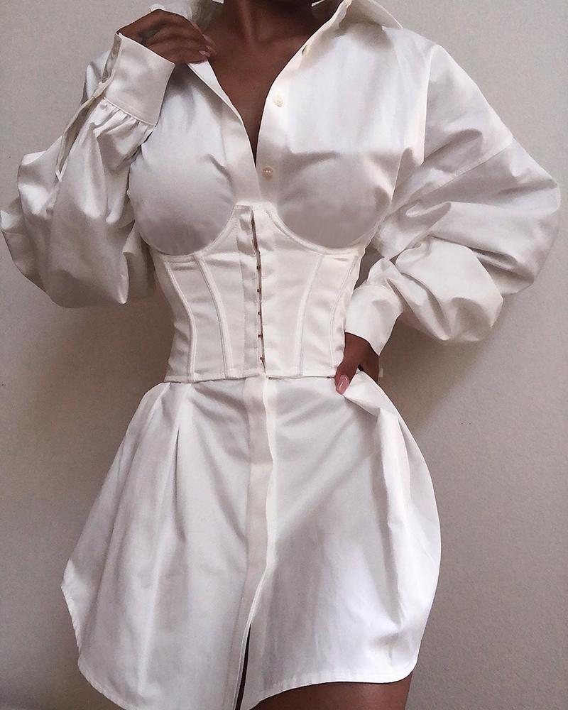 Solid Long Sleeve Tight Waist Buttoned Shirt Dress