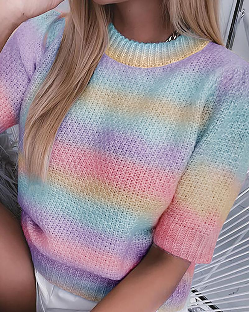 Half Sleeve Knit Colorblock Sweater
