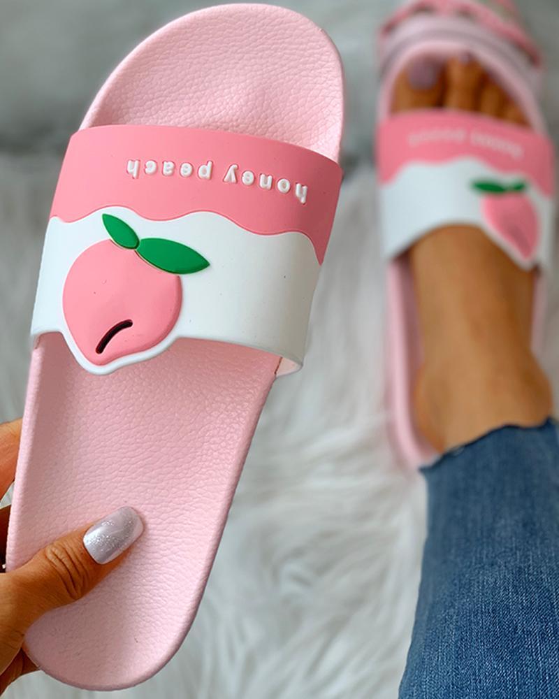 Sandales plates à bout ouvert à motif fruits