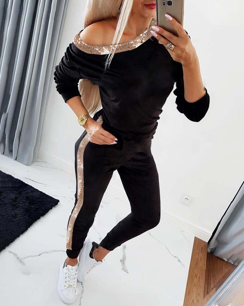 Long Sleeve Sequins Sweatshirt & Pocket Design Pants Set