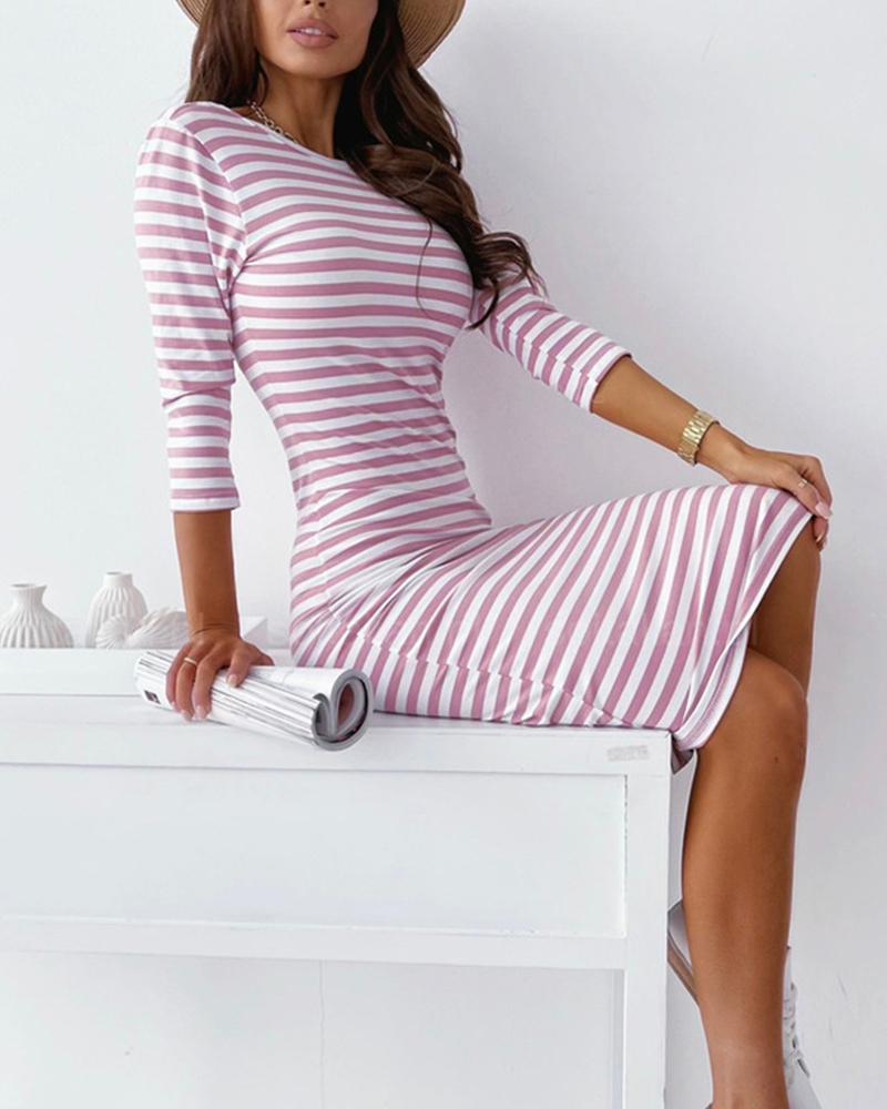 Striped Open Back Sweater Dress