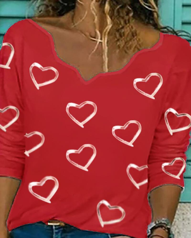 Heart Print Long Sleeve T-shirt