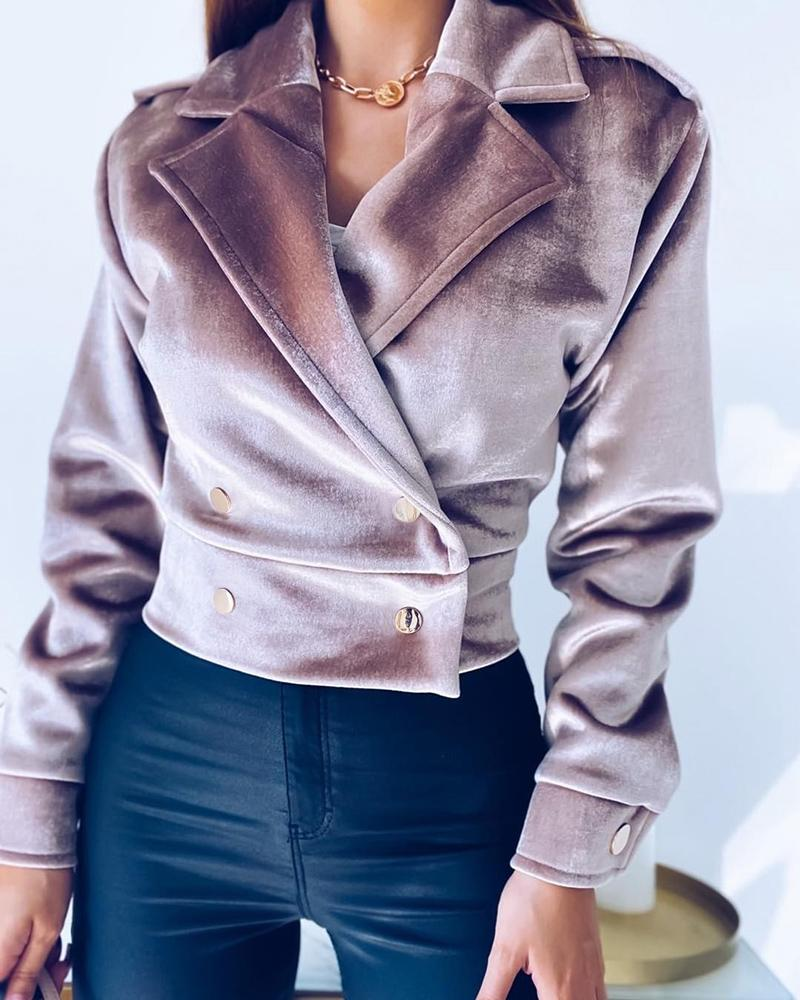 Long Sleeve Button Design Coat