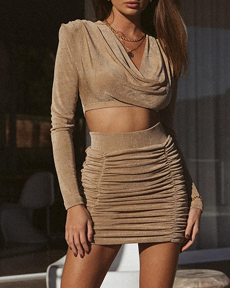 Cowl Neck Long Sleeve Top & Ruched Skirt Set thumbnail
