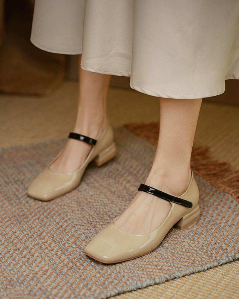Square Toe Colorblock Chunky Mary Jane Shoes