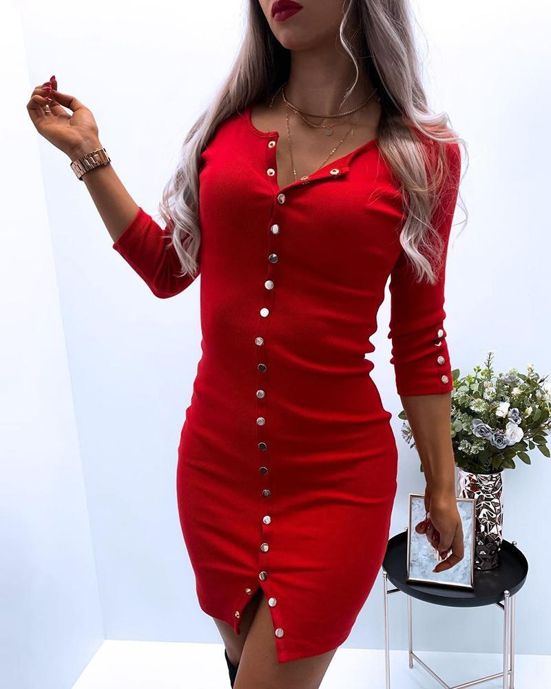 Button Design Round Neck Bodycon Dress